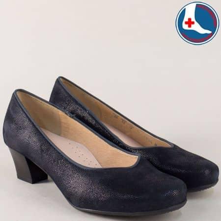 Дамски обувки в син цвят с кожена стелка и нисък ток m854s