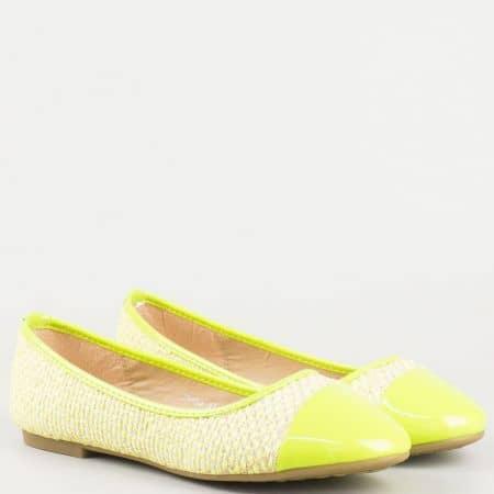Дамски обувки, тип балерини в жълт цвят m85z