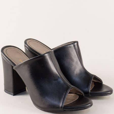 Дамски чехли на стабилен висок ток в черен цвят m861ch