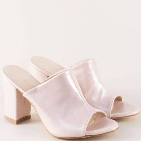 Дамски чехли на висок ток в розов цвят с перлен блясък m861rz