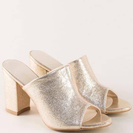 Златисти дамски чехли на стабилен висок ток m861zl