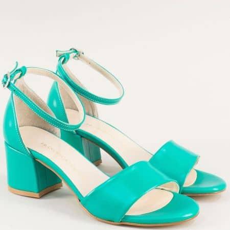 Тюркоазено зелени дамски сандали със затворена пета m869z