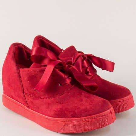 Червени дамски обувки на платформа с ефектни връзки m888vchv