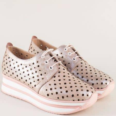Перфорирани дамски маратонки на платформа в розово m906rz