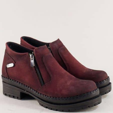 Дамски обувки с два ципа от естествен набук в цвят бордо m915nbd