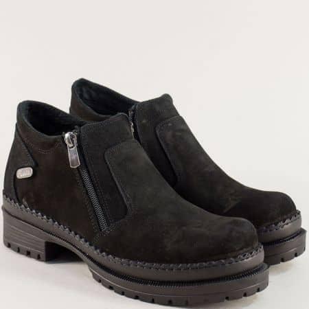 Черни дамски обувки на среден ток и платформа с грайфер m915nch