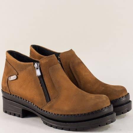 Кафяви дамски обувки с два ципа от естествен набук m915nk