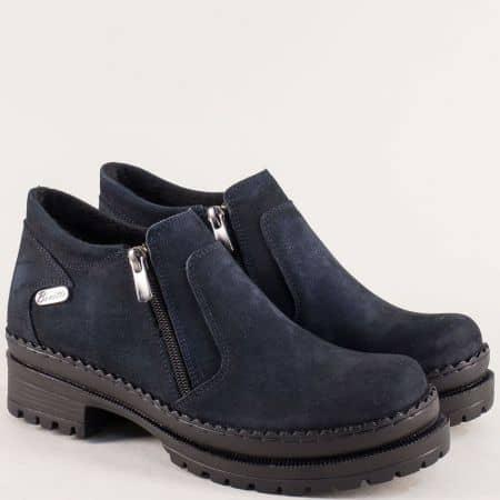 Тъмно сини дамски обувки с два ципа на среден ток m915ns