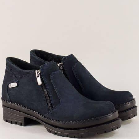 Тъмно сини дамски обувки с два ципа от естествен набук m915ns1