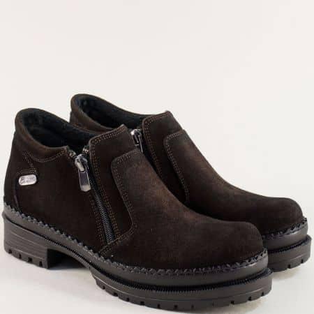 Тъмно кафяви дамски обувки с два ципа и среден ток m915vkk