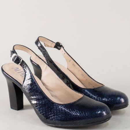 Дамски обувки на висок ток от естествен лак в син цвят m917zs