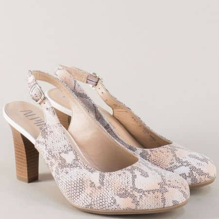 Кожени дамски обувки ALPINA в сив цвят с ефектен змийски принт и висок ток m917zsv