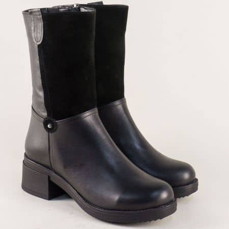 Черни дамски боти на ток от естествен велур и кожа m955ch
