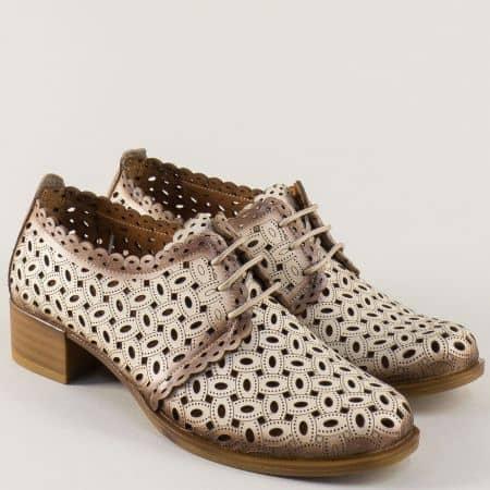 Бежови дамски обувки от естествена кожа с перфорация m95bj