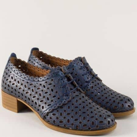 Дамски обувки с връзки и кожена стелка в син цвят m95s