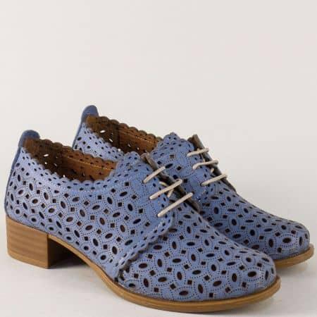 Светло сини дамски обувки от естествена кожа на нисък ток с перфорация m95ss
