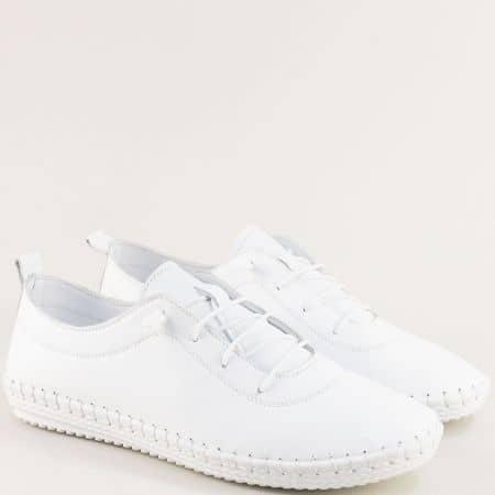 Бели мъжки обувки с ластични връзки от естествена кожа ma004b