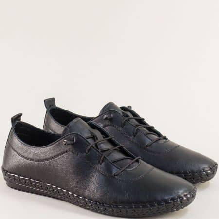 Черни мъжки обувки от естествена кожа с ластични връзки ma004ch