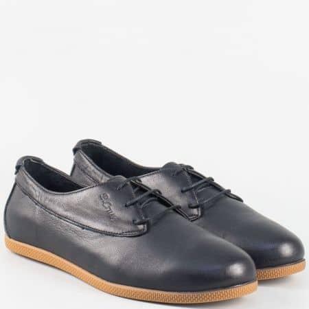 Леки и удобни дамски обувки с връзки от естествена кожа в черен цвят ma02ch