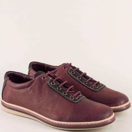 Кожени мъжки обувки с връзки в бордо и черно ma041bdch