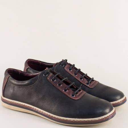 Кожени мъжки обувки с връзки в черно и бордо ma041chbd