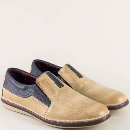 Шити мъжки обувки от естествена кожа в бежово и синьо ma044bjs