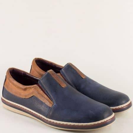 Кожени мъжки обувки с два ластика в синьо и кафяво ma044sk