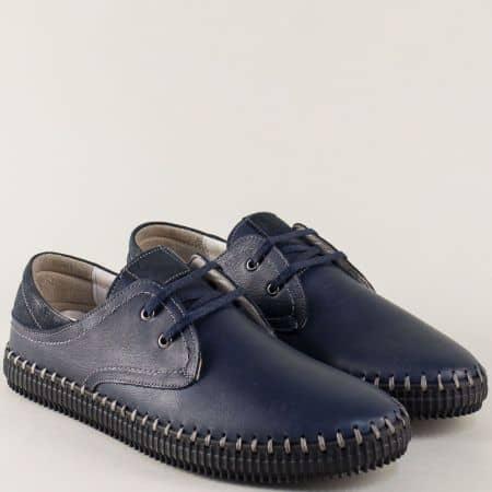 Сини мъжки обувки с връзки от естествена кожа ma05s