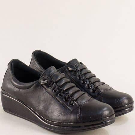 Черни дамски обувки от естествена кожа на платформа ma061ch