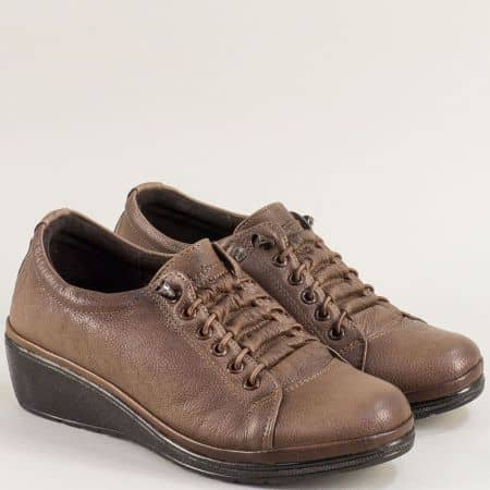 Спортни кафяви дамски обувки от естествена кожа на лека платформа ma061k