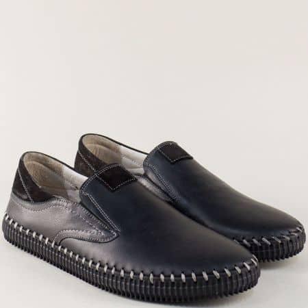 Кожени мъжки обувки с два ластика в черен цвят ma06ch