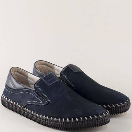 Шити мъжки обувки с два ластика от син естествен набук ma06ns