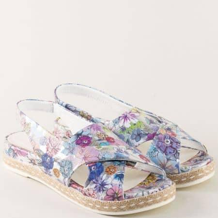 Дамски сандали на платформа с пъстър флорален принт ma07ps