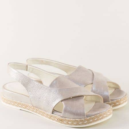 Сребърни дамски сандали от сатен и естествена кожа ma07sr