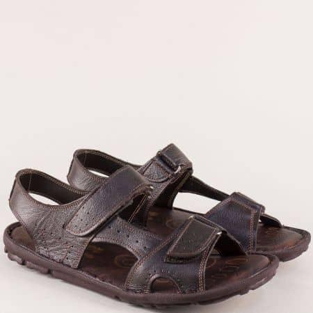 Тъмно кафяви мъжки сандали от естествена кожа ma088kk