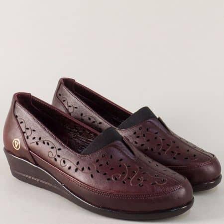 Кожени дамски обувки в цвят бордо на клин ходило ma1001bd