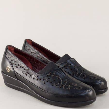 Черни дамски обувки с перфорация и кожена стелка ma1001ch