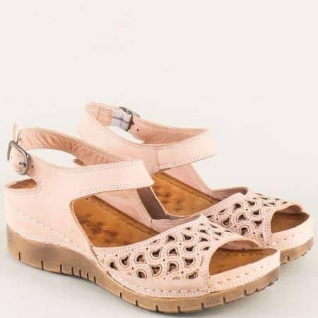 Розови дамски сандали на платформа с кожена стелка  ma102rz