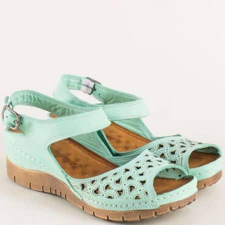 Зелени дамски сандали на платформа от естествена кожа ma102z