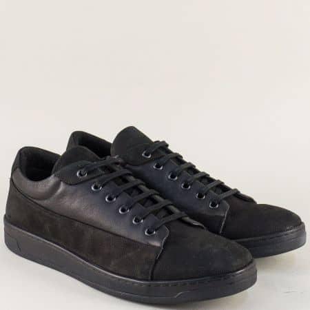 Мъжки обувки от естествен набук и кожа в черен цвят ma104nch