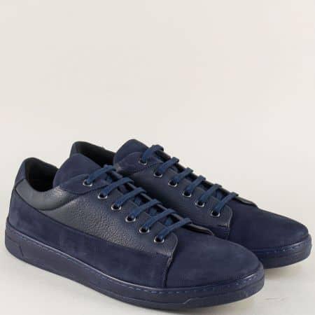 Мъжки обувки с връзки на шито ходило в син цвят ma104ns