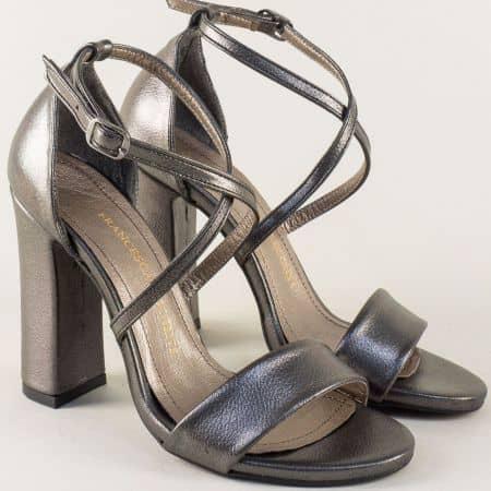 Бронзови дамски сандали със затворена пета и висок ток  ma107sbrz