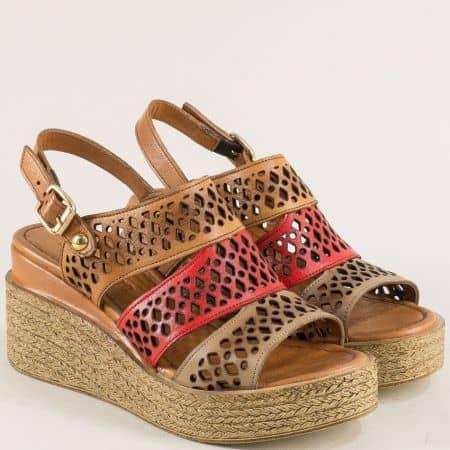 Дамски сандали от червено, кафяво и светло кафяво ma108kchv
