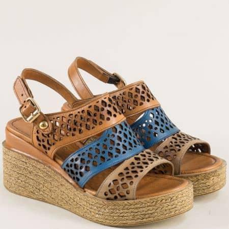 Дамски сандали в кафяво и  синьо с кожена стелка ma108ks