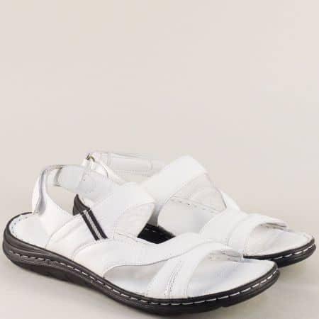 Бели мъжки сандали от естествена кожа с велкро лента ma111b