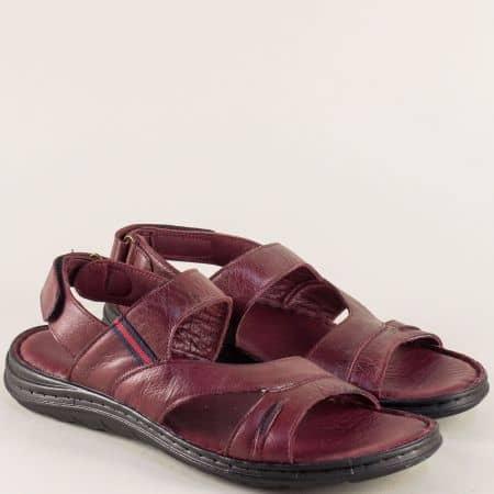 Мъжки сандали от естествена кожа с велкро лента в цвят бордо ma111bd