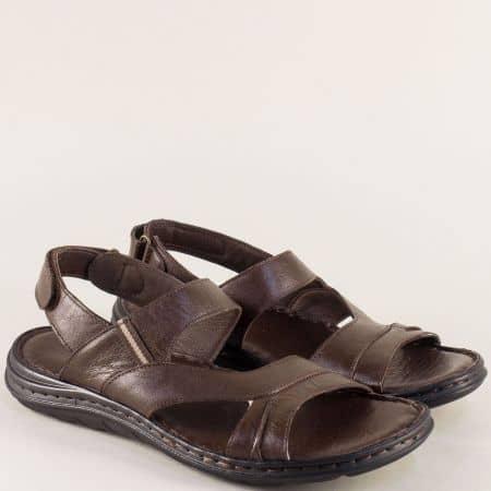 Тъмно кафяви мъжки сандали от естествена кожа с велкро лента ma111kk