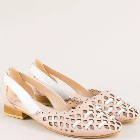 Равни дамски обувки в розово и бяло с кожена стелка ma112rzb