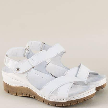 Бели дамски сандали от естествена кожа на платформа ma116b