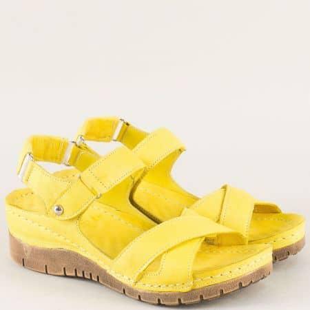 Жълти дамски сандали от естествена кожа с лепка ma116j